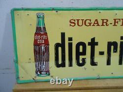 Vintage Sugar Free Diet-rite Cola 32 X 12 Soda Bottle Embossed Tin Sign