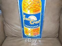 Vintage Sun Crest Soda Tin Sign 1949