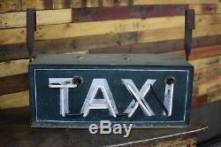 Vintage TAXI 2 sided Neon tin sign Transportation Automobilia Original Americana