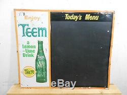Vintage Teem Cola 26 X 22 Lemon Soda Bottle Tin Menu Sign Clean Rare
