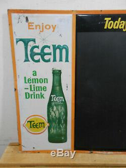 Vintage Teem Lemon Cola 26 X 22 Soda Pop Bottle Store Tin Menu Sign Rare