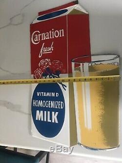 Vintage Tin Carnation Milk Sign GAS OIL SODA COLA DAIRY three Dimensional