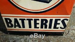 Vintage Tin Delco Batteries Sign Gas Pump Oil Can
