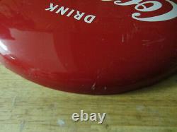 Vintage Tin Metal Enamel Advertising Sign Coke Coca-cola Button 12