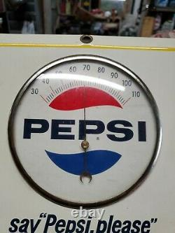 Vintage Tin Metal Pepsi Soda Advertising Thermometer Sign. Near mint 9x9