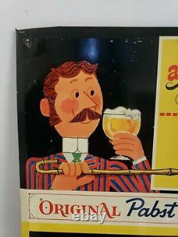 Vintage Tin Pabst Blue Ribbon Chalkboard Beer Sign PBR Metal Milwaukee WI Rare