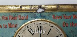 Vintage Tin Sign Nine O'Clock Washing Tea RARE