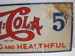 Vintage Tin Steel Pepsi Sign Antique Soda Advertising Gas Station Drug Store T