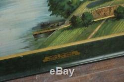 Vintage Travel Sign 1920's 30's Southern Railway Tin Litho train bridge station