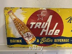 Vintage Tru Ade Soda Bottle Embossed metal tin Sign Coke Orange Grape Crush Cola