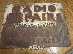 Vintage Tung-sol Radio Repair Tin Sign Gould Corp. Ny, Ny
