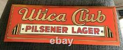 Vintage Utica Club Beer Metal Toc Tin Over Cardboard Sign West End Brg Utica Ny