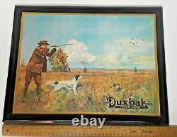 Vintage Utica Duxbak Hunting Clothing Sign Workwear Denim Tin Over Cardboard NY