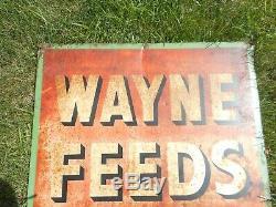 Vintage WAYNE FEEDS FARM Tin Advertising DIE Cut SIGN