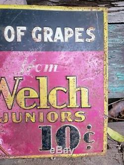 Vintage WELCH'S GRAPE JUICE Tin Metal Soda Sign Advertising 1931 Embossed