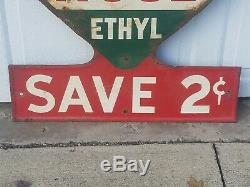 Vintage WHITE ROSE ETHYL, Save 2 Cents, Rare Gasoline Tin Sign, Gas & Oil Sign