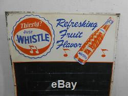Vintage Whistle Orange Cola 28 X 20 Soda Pop Bottle Cap Tin Menu Sign Rare