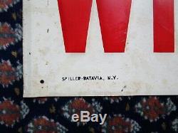 Vintage Wildroot Barber Shop Embossed Tin Sign Spiller Batavia Ny W-49 1949