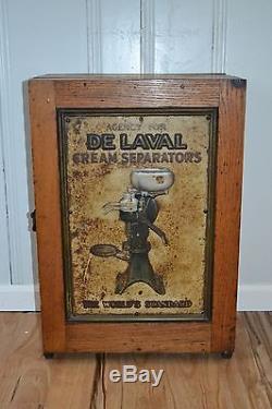 Vintage Wood Amp Tin Sign De Laval Cream Separator Parts Cabinet