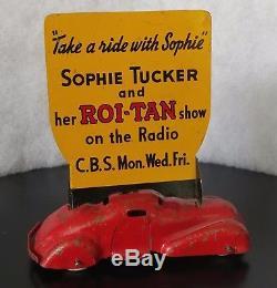 Vintage Wyandotte Roi-Tan Sophie Tucker 1939 Cigar Advertising Car Sign Chevy