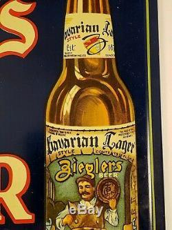 Vintage Ziegler Beer Sign Tin Over Cardboard Beaver Dam Wisconsin
