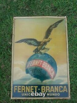 Vintage fernet branca Advertisement Litho Tin Sign original