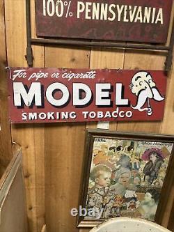 Vintage old original tin Model Tobacco sign