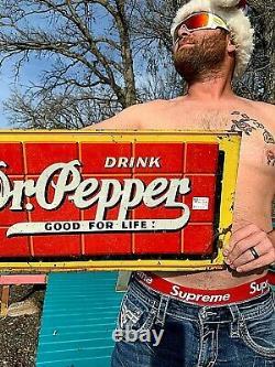 Vintage orig 1939 Dr Pepper 10-2-4 Soda Pop Metal Tin Tacker Bottle Sign 29X12