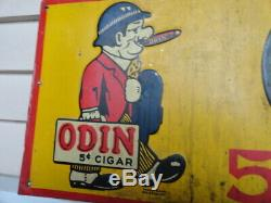 Vintage original tin sign Odin 5 cent cigar 1930's great early country store