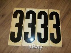 Vintage set 19 GAS STATION PRICE NUMBER SIGNS tin metal 16 one sided 3 two sided