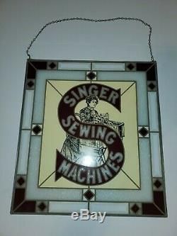 Vintage singer sewing machine stained glass looking sign