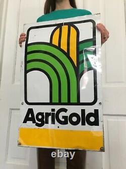 Vintage tin Metal Agri Gold Seed Farm Corn Sign Feed Gas Oil Soda POP Ag Pig Cow