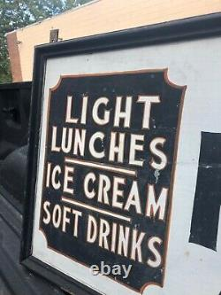Vintage tin & wood sign Havers candy light lunch Tappan NY 72 x 24 molded edge