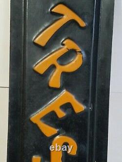 Vtg. 1930s Japanese style embossed NO TRESPASSING tin Advertising Sign antique