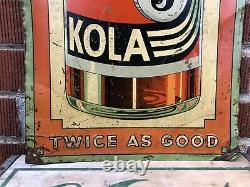 Vtg 1930s Nichol Kola Soda Advertising Sign Vertical 35.5 Embossed Tin Soda Pop