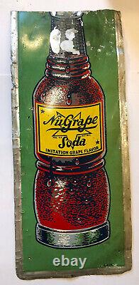 Vtg 1940s NuGrape Soda Advertising Sign Tin 18.75 Cut Country Store Gas Station