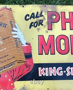 Vtg 1940s PHILLIP MORRIS Cigarettes King Size Embossed Sign 27 Tin Tobacco Sign
