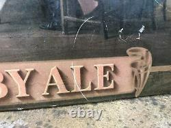 Vtg 1940s Toby Ale Beer Sign 21 TOC Tin On Cardboard Charrington Anchor Brewery
