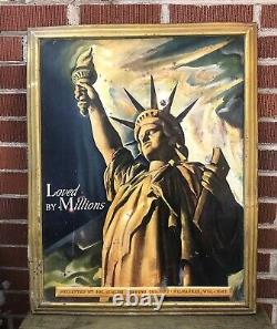 Vtg 1942 Schlitz Brewing Co Milwaukee Beer Sign Tin 28 WWII Statue Of Liberty