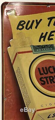 Vtg 1950's Lucky Strike Cigarettes Tobacco Embossed Metal Tin Sign Advertising