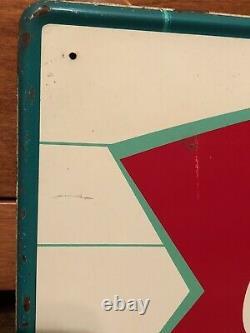Vtg 1950s 60s COCA COLA Soda Fishtail & Bottle Sign 31.75 Tin Soda Pop Ad NM