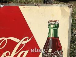 Vtg 1950s Coca Cola Soda Pop Drink Ice Cold Sign 27x19 Tin Coke Soda Bottle