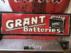Vtg 1960 GRANT BATTERIES TIN SIGN 54 X 18 Gas & Oil