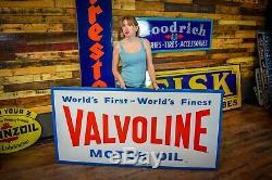 Vtg 1960 VALVOLINE Motor Oil Sign Embossed Tin Gas Station Advertising BIG