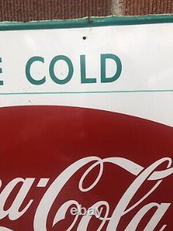 Vtg 1960s Coca-Cola Soda Fishtail & Bottle Sign Tin 28x20 Soda Pop Advertising