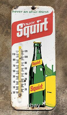 Vtg 1971 Squirt Soda Pop Ad Thermometer Sign Tin 13.5 General Store Gas Station