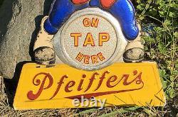 Vtg 40s Pfeiffers Beer Ad Sign Tin On Composite 13 Detroit Flint WWII Era Rare