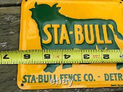 Vtg 60s STA-BULL FENCE CO DETROIT Embossed Tin Sign 6 Detroit MI Bull Graphic