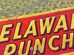 Vtg Embossed Drink DELAWARE PUNCH Beverage Soda Cola TIN Sign 1950's