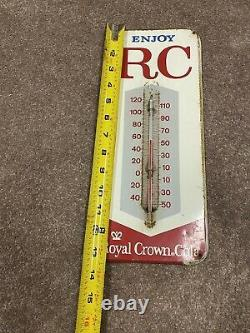 Vtg Enjoy RC Cola Royal Crown Thermometer Advertising Metal Tin Sign Works